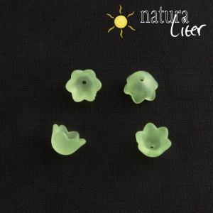 Akrylová květinka 10mm matná světle zelená, 4ks