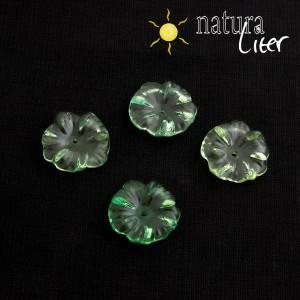 Akrylová květinka 17mm průhledná zelená, 2ks
