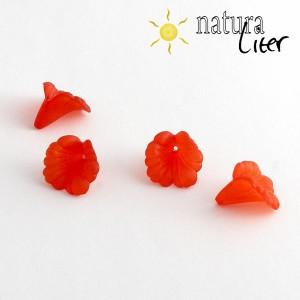 Akrylová květina - 16mm červená, 2ks