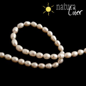 Říční perly oválné bílé, 5-6 mm, A, 4 ks