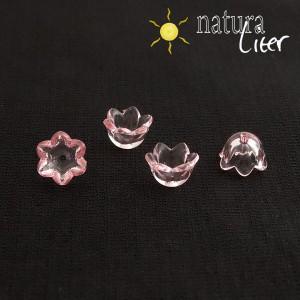 Akrylová květinka 10mm průhledná růžová, 4ks