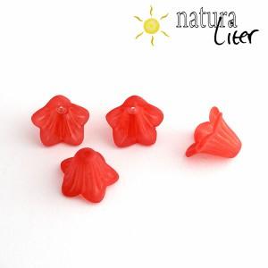 Akrylová květina - zvonek 14mm červený, 4ks