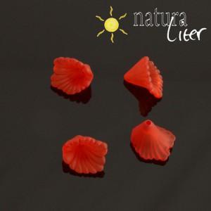 Akrylová květina - 12mm červená, 4ks