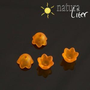 Výprodej - Akrylová květinka 10mm matná oranžová, 4ks