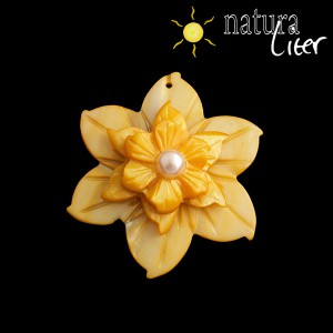Perleťový květ velký 50mm žlutý