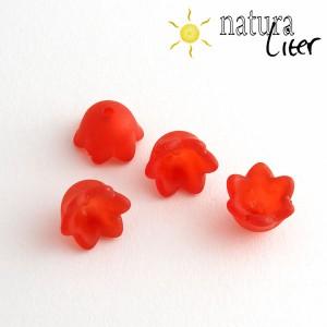 Výprodej - Akrylová květina 10mm matná červená,4ks