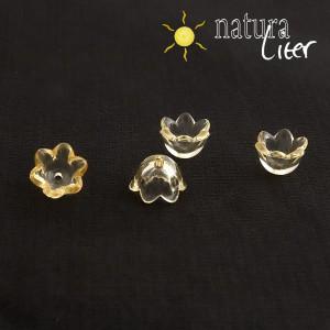 Výprodej - Akrylová květinka 10mm průhl. žlutá,4ks