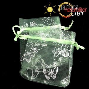 Dárkový organzový sáček zelený s motýly 9x7cm