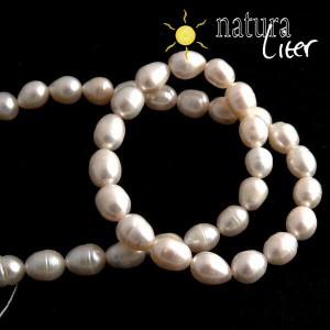 Říční perly oválné bílé, 8-9 mm, 2 ks