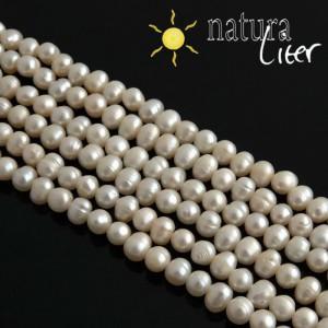 Říční perly kulaté bílé, 7-8 mm, A, návlek 38cm