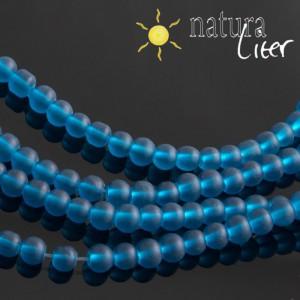 Matné skleněné korálky 4mm modré, 20ks