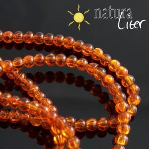 Práskané skleněné korálky 4mm oranžové, 20ks