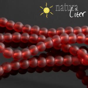 Matné skleněné korálky 4mm červené, 20ks
