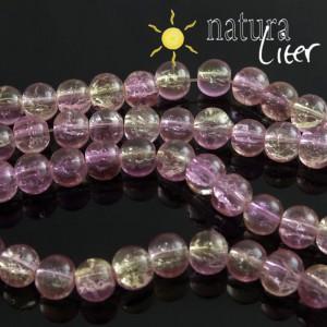 Práskané skleněné korálky 8mm růžové, 10ks