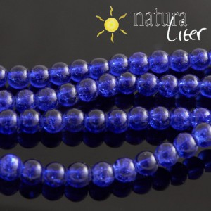 Práskané skleněné korálky 6mm modré, 15ks