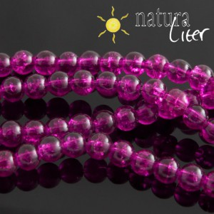 Práskané skleněné korálky 6mm světle fialové, 15ks
