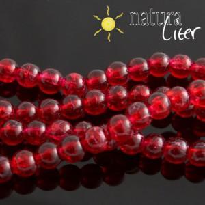 Práskané skleněné korálky 6mm červené, 15ks