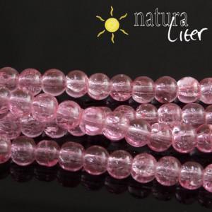 Práskané skleněné korálky 6mm růžové, 15ks