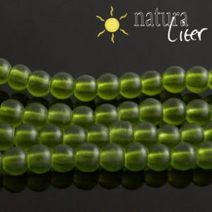 Matné skleněné korálky 6mm zelené, 15ks