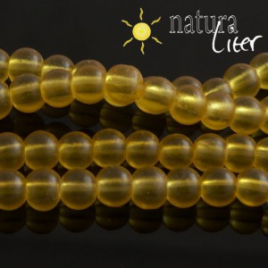Matné skleněné korálky 6mm žluté, 15ks