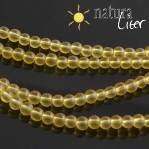Matné skleněné korálky 4mm žluté, 20ks