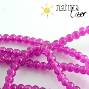 Práskané skleněné korálky 4mm fialové, 20ks