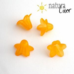 Výprodej - Akrylová květina - zvonek 18mm oranžový, 2ks