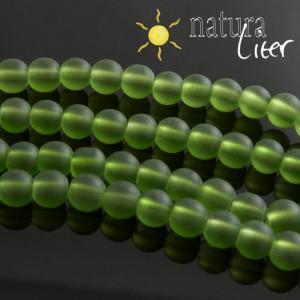 Matné skleněné korálky 8mm zelené, 10ks