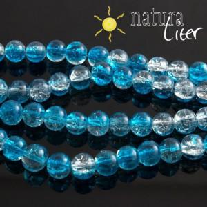 Práskané skleněné korálky 8mm modré, 10ks
