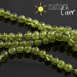 Práskané skleněné korálky 6mm olivové, 15ks