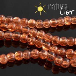 Práskané skleněné korálky 6mm oranžové, 15ks