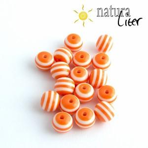 Pruhovaný korálek 10mm oranžovobílý, 5ks