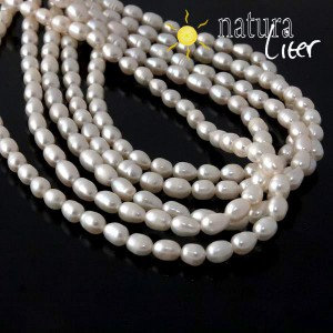 Říční perly oválné bílé, 5-6 mm, A, návlek 37cm