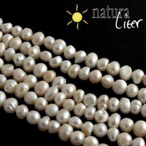 Říční perly bílé, 6-8 mm, B, návlek 36cm