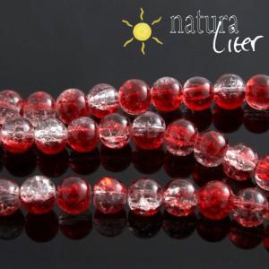 Práskané skleněné korálky 8mm červené, 10ks