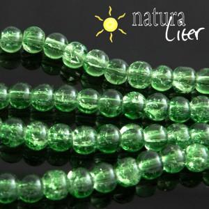 Práskané skleněné korálky 6mm světle zelené, 15ks