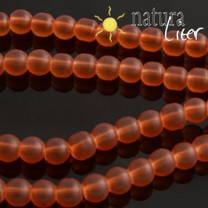 Matné skleněné korálky 6mm oranžové, 15ks