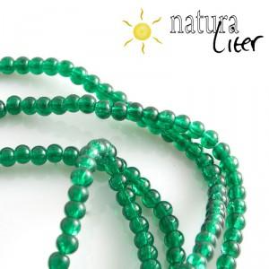 Práskané skleněné korálky 4mm tmavě zelené, 20ks