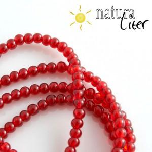 Práskané skleněné korálky 4mm červené, 20ks