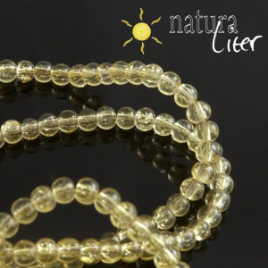 Práskané skleněné korálky 4mm žluté, 20ks
