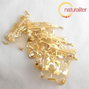 Dárkový organzový sáček zlatý 9x7cm
