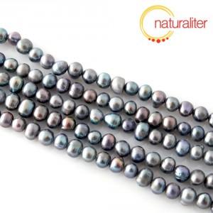Říční perly duhové, 5-6 mm, A, návlek 37cm