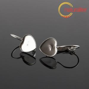 Náušnice s lůžkem srdce 10x10mm, 2ks