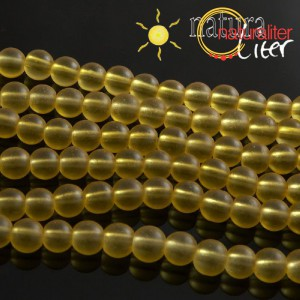 Matné skleněné korálky 8mm žluté, 10ks