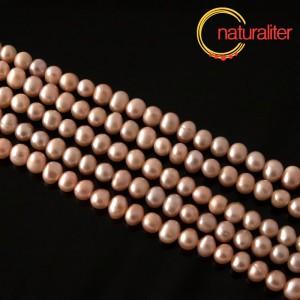 Říční perly broskvové, 6-7 mm, A, návlek 37cm