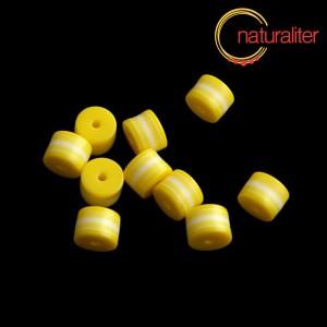 Výprodej - Pruhovaný korálek váleček 8x6mm žlutobílý, 5ks