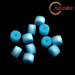 Výprodej - Pruhovaný korálek váleček 8x6mm modrobílý, 5ks