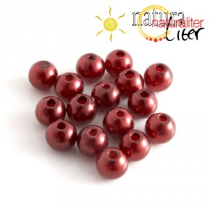 Voskované perly, tmavě červené, 8mm, 50ks