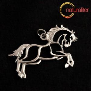Kůň ve skoku, obrys - přívěsek starostříbro 50x25mm