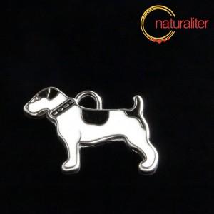 Pes - přívěsek bílo-černý 25x18mm
